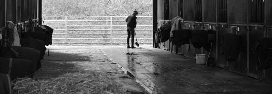 Groom sweeping the horse boxes at Thorndale Farm